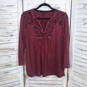 LUCKY BRAND | Mineral Wash Embroidered Top